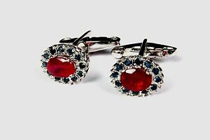 925 Sterling Solid Silver Natural Gem Stone Ruby & Sapphire Men's Cufflink