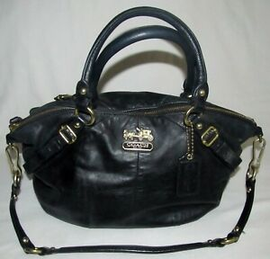 Coach Madison Black Soft Leather Hobo Medium Satchel Shoulder Bag Purse Tote