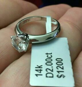2 CT ROUND CUT DIAMOND SOLITAIRE ENGAGEMENT RING 14K WHITE GOLD ENHANCED