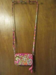 Vera Bradley Pink Swirls Floral Pattern All In One Crossbody Wallet Purse