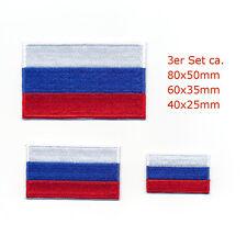 3 Russland Flaggen Russische Föderation Flags Moskau Aufnäher Aufbügler Set 0962