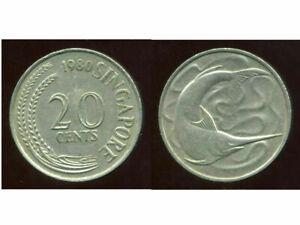 SINGAPORE - SINGAPOURE  20 cents  1980    ( etat )