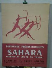AFFICHE ORIGINALE ANCIENNE PEINTURES PREHISTOIRES SAHARA LHOTE AU TASSILI LYON