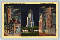 Pittsburgh PA, Cathedral Of Learning, Courthouse, Linen Pennsylvania Postcard