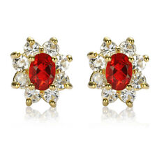 Melina Jewelry Gift Oval Cut Red Ruby Stone Yellow Gold Plated Stud Earrings