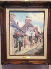"""MARTY BELL 1991 YE OLDE BELL RYE 11""""X14"""" CANVAS LITHOGRAPH 294/1100 SIGNED COA"""