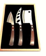 Legnoart Cheese 3 Piece Wine Party Set Stainless Steel Wenghe Pakkawood
