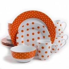 ISAAC MIZRAHI*Orange White Polka Dot*16 Piece Dish DINNERWARE SET*Plate,Bowl,Mug