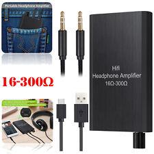 16-300Ω HIFI Headphone Amplifier Portable Earphone AUX 3.5mm w/USB Cable NEW