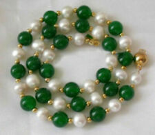 Natural 7-8MM White Akoya Pearl & Emerald Necklace 25'' AAA