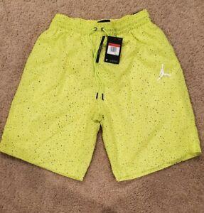 Mens Nike Jordan Cement Poolside Swim Trunks Neon Yellow Size L Large CI9133-345