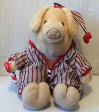 1994 Plush Younkers Pig in Pajamas & Cloth Candy Cane Yoinki