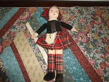 Antique Norah Wellings England Cloth Doll 12in Velvet Original Scottish Outfit