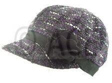 Womens Formal Vintage Newsboy Cap Hat Baker Boy Hats Gatsby Flower Wool Mix