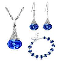 Royal Blue Bridal Jewellery Set Drops Earrings Bracelet Necklace Pendant S924