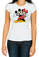 Mickey and Minnie Mouse Tshirts White Women's 3/4 Short Sleeve T-Shirt K112