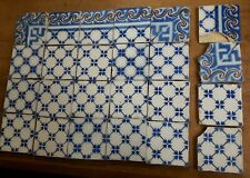 24 original antique tiles Ca1870 France Provecal Style Pas Calais blue & purple