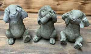 STONE GARDEN SEE HEAR SPEAK NO EVIL RABBIT BUNNIES HARE BUNNY GIFT ORNAMENT