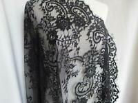 Black French Chantilly Lace Fabric Deluxe Floral Wedding Lace Fabric By The Yard