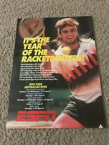 ESPN TENNIS Poster Print Ad 1990s ANDRE AGASSI IN NIKE CHALLENGE COURT SHIRT
