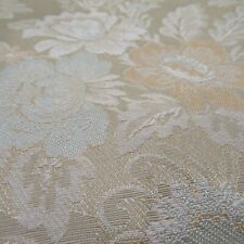 """Champagne Blue Tan Floral Upholstery  Brocade Fabric 54.5"""" W x  52"""" L  Panel"""