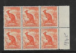 1945 Kangaroo ½ d Block of 6  Stamps MUH/MNH