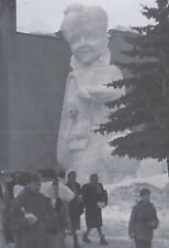 1948 SNAPSHOT PHOTO ST MORITZ SWITZERLAND LARGE SNOW STATUE