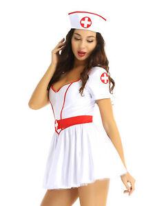 Women Nurse Costume Halloween Party Outfit Short Sleeve Tutu Dress Headband Belt