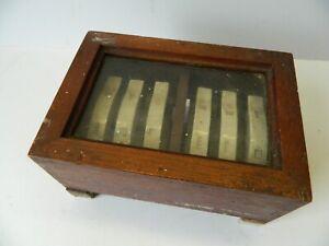 Antique Fuse Box Wooden Case with Porcelain Fuses Glass Front