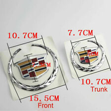 Front & Rear Wreath Crest Chrome Emblem Badge for Cadillac Escalade CTS SRX