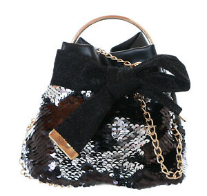 LB-179 Black Silver Turn Sequins Glitter Pouch Handle Carrying Mini Bag