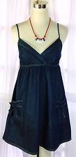 JFW Just For Wraps Adorable Denim Pouch Pockets W/ Bow Spaghetti Strap Sundress