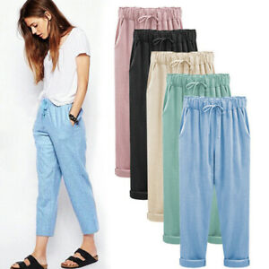 Women Drawstring Harem Cotton Linen Ankle-Length Pants Trousers Solid Casual