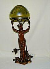 c.1920's Art Nouveau Lamp Maiden Standing Bronze Art Glass Loetz Shade, Europe