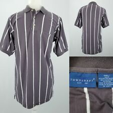 90s TownCraft Gray & White Stripes Collared Cotton Poly Polo Shirt Mens Small