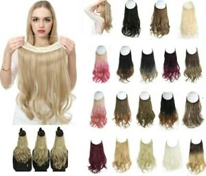 No Clip Wave Halo Hair Extension 14/16/18 Ombre Synthetic Natural Fake Hairpiece