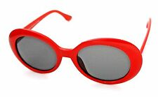 OVAL Cat Eye Sunglasses Vintage Retro KURT COBAIN Style  Red / Grey Lenses