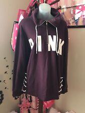 NWT Victorias Secret Pink Quarter Zip Lace Up Sweater Maroon Logo Medium
