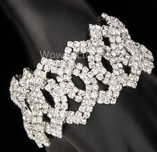 Linked Kiss Diamante Rhinestone Crystals Silver Plated Bracelet Gift Boxed