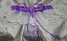 SATIN WEDDING BRIDAL GARTER WITH FLORAL ORGANZA TRIM AND RHINESTONES