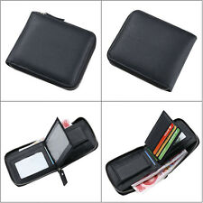 Leather Zipper Wallet Pocket Money Clip Purse ID Credit Card Clutch Bifold Black