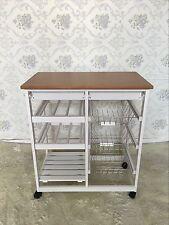 White Wooden MDF & Bamboo Kitchen Trolley Island Dining Cart Worktop Basket