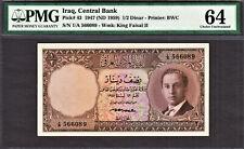 Iraq 1/2 Dinar 1947 ND (1959) King Faisal II Pick-43 Choice UNC PMG 64