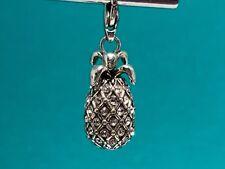 BRIGHTON Silver Plated RETIRED Pineapple Snap Charm SWAROVSKI CRYSTAL J94882