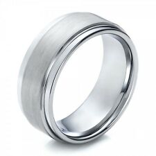 7mm Men or Ladies Tungsten Carbide Brushed Finished Step Edge Wedding Band Ring