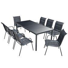 vidaXL Outdoor Dining Set 9 Piece Black Garden Furniture Table Stackable Chair