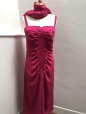 Vintage 1980s Parigi Cerise Pink Pencil  Dress With Matching Shawl Size 10/12