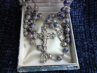 """† RARE UNIQUE ONE-OF-A-KIND  VINTAGE CREED STERLING SILVER PINK/BLUE ROSARY 35"""""""