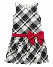 GYMBOREE Girls Very Merry Black Plaid Red Bow Aline Formal Holiday Dress Size 8