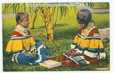 Florida, Seminole Indian Girls Stringing Beads (Linen(indians973
